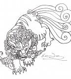 Foo Dog Temporary Tattoo Sketch