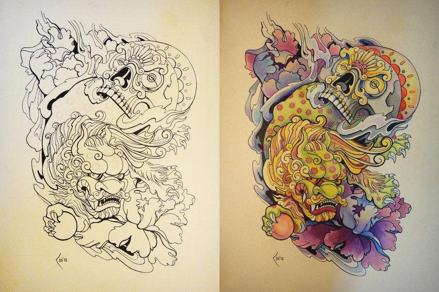 Tattoo Design Japanese Foo Dog And Skull Tattoomagz Tattoo