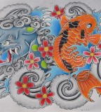 Foo Dog And Koi Color Tattoo Artwork