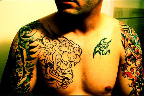 Fu Dog Tattoo Designs on Chest