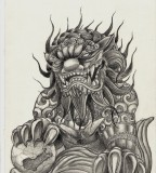 Harhakuva Moon Scorpion Foo Dog Tattoo