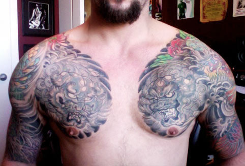 Inspirational Foo Dog Chest Tattoo