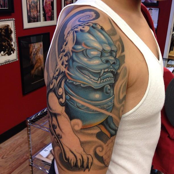Asian Foo Dog Sleeve Tattoo for Men