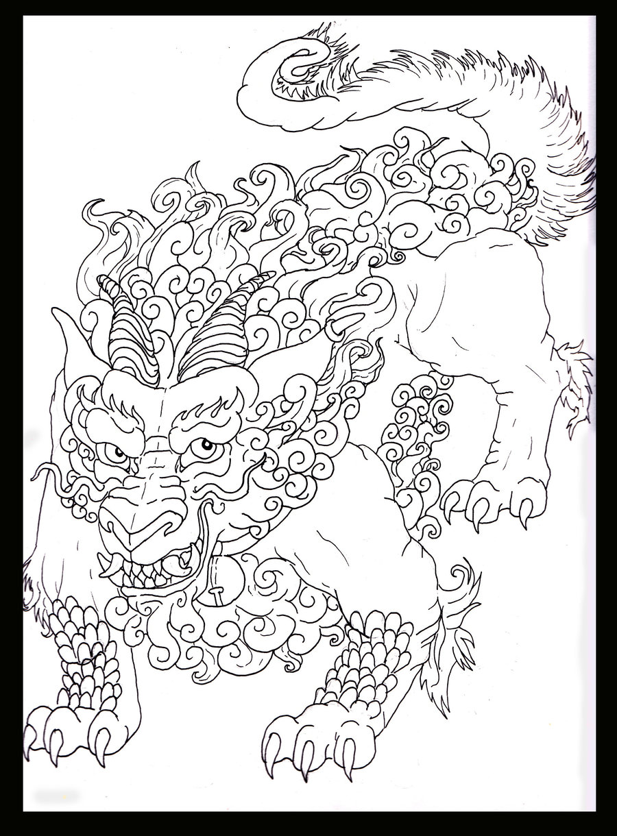 The Great Foo Dog Tattoo Sketch