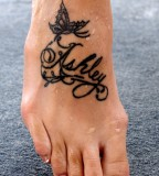 Lettering and Butterfly Tattoo Design on Foot