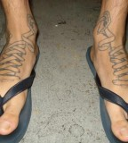 Creative Shoelace Tattoo Design On Foot For Men