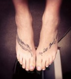 Lettering Tattoo Designs on Feet