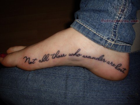 Literary Tattoo On Foot For Men