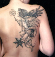 Cute Angle Tattoo Design on Back for Men