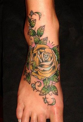 Cool Rose and Tree Tattoos Design On Foot For Men