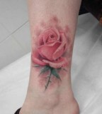 Beautiful Rose Tattoo Design on Foot