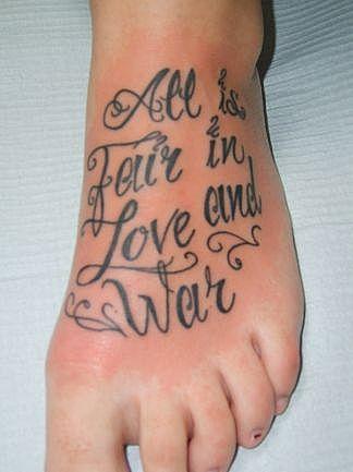 Lettering Tattoo Design on Foot for Men