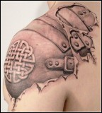 Cool 3D Tattoo Design on Shoulder for Men