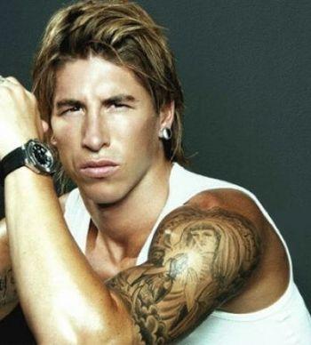 Football Sergio Ramos Upper Arm Tattoo Design Idea