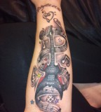 Forearm Guitar Tattoos Design