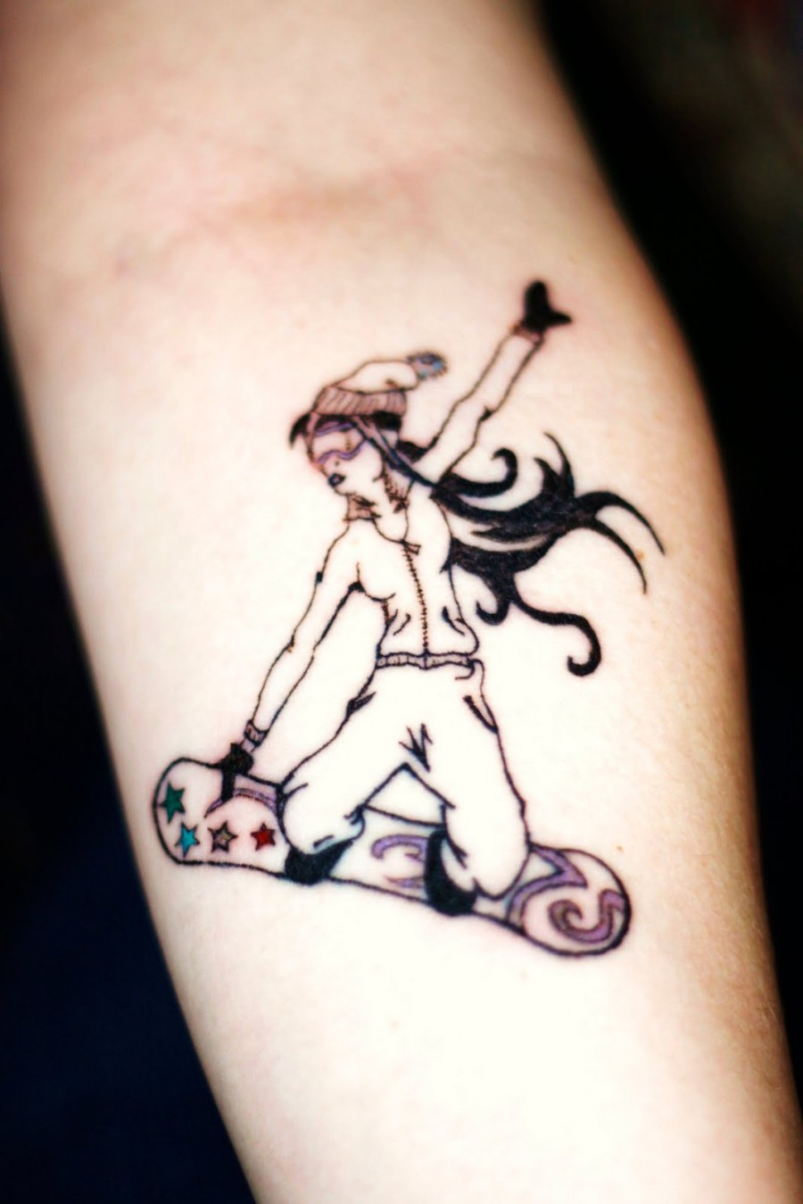 Girl's Forearm Snowboarding Tattoo