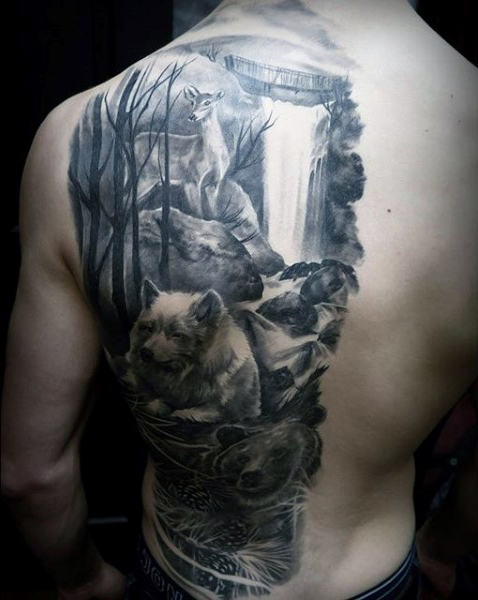 forrest and animals tattoos for men