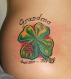 Four Leaf Clover Tattoo Dedicates to Grandma