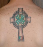 Four Leaf Clover Cross Tattoo Design For Men