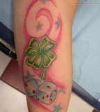 Four Leaf Clover Tattoo Combo with Stars and Dices Design