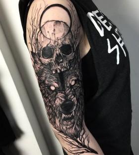fredao_oliveira-wolf-skull-tattoo