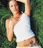 Angelina Jolie Cross Tattoo