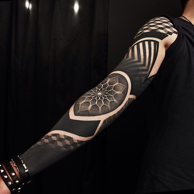 full arm sleeve geometric tattoos for men