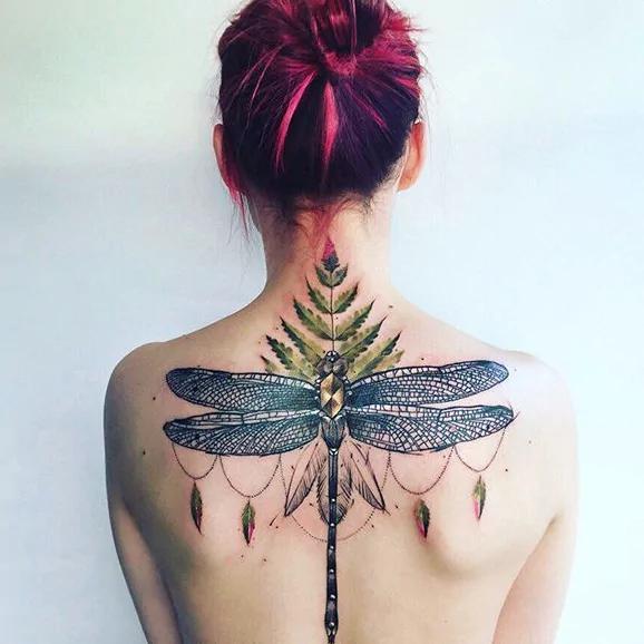 full back dragonfly tattoos for women