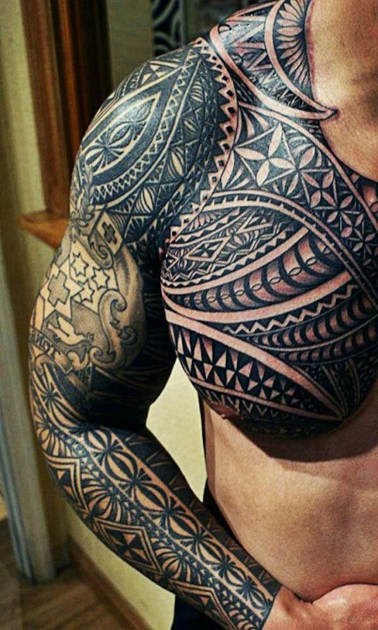 full sleeve and chest tribal tattoo