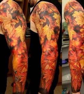 full-sleeve-maple-leaf-autumn-tattoo