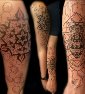 geometric couple tattoo