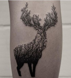 geometric deer tattoos for men
