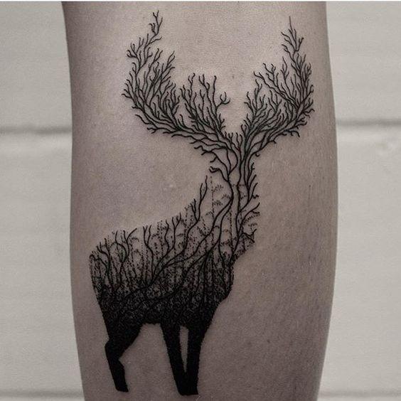 geometric deer tattoos for men