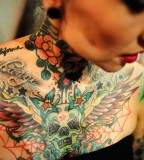 Tattoos Addicted Girl With Full Tattoos on Her Chest