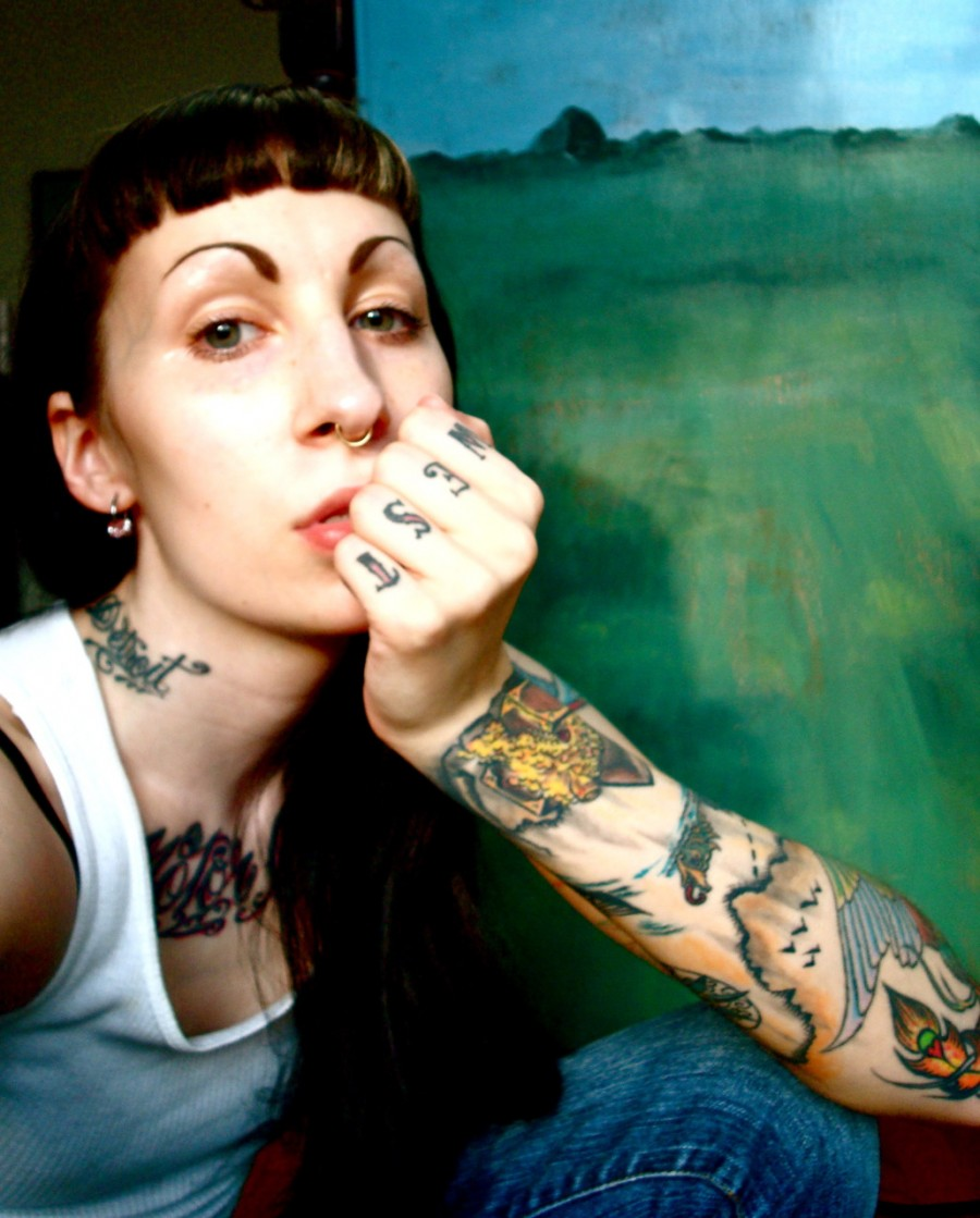 Girl With Finger / Forearm / Chest / Neck Tattoos