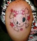 Cute Girly Skull And Bow Hand Sleeve Tattoo