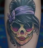 Girly Sugar Skull Done In Black Pearl Tattoo
