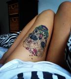 Sugar Skull Thigh Tattoo Skullspiration [NSFW]