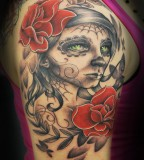 Sugar Skull Half Sleeve Tattoo