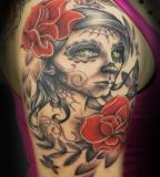 Sugar Skull Half Sleeve Tattoo