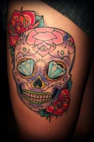 Beautiful Sugar Skull Thigh Tattoo