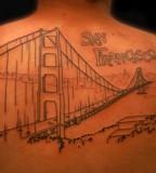Black Golden Gate Bridge Tattoo in Back