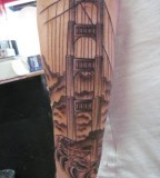 Black and White Elegant Golden Gate Bridge Tattoo Design