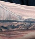 Stylish Golden Gate Bridge Tattoo Design in Arm