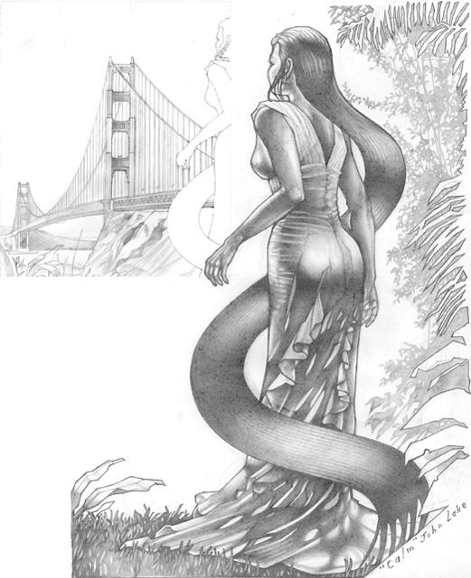 Golden Gate Bridge Concept Drawing Graphite Sketchbook Paper