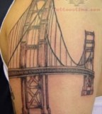 Glamorous San Francisco Golden Gate Bridge Tattoo