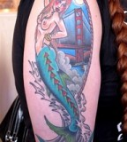 Mermaid Golden Gate Tattoo in Arms of Mens