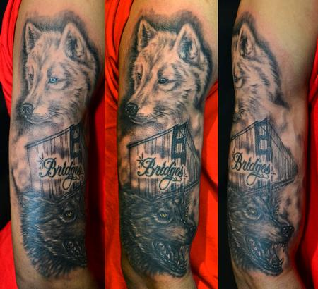 SF Golden Gate Bridge and Wolves Images Tattoos