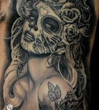 Day Of The Dead Pin Up Tattoo by Steve Soto