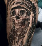 Cool Indianer Skull Tattoo Design for Men